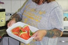 Tina hat uns Wassermelone angerichtet ...